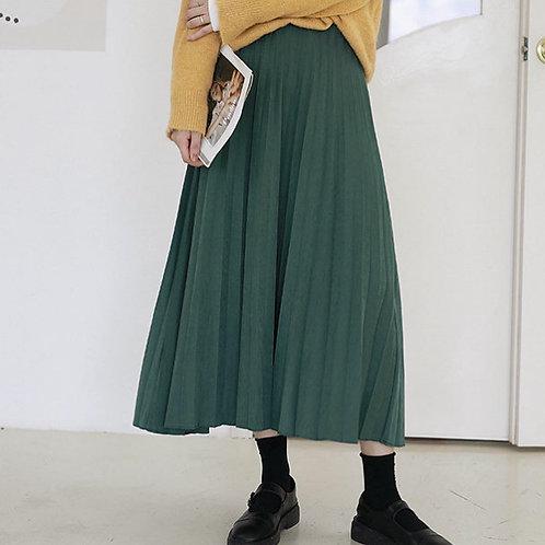 SH562 氣質純色絨質A字裙