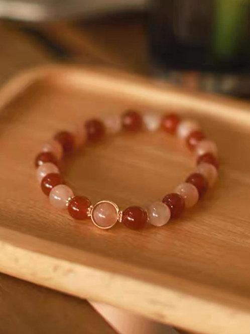 CR172 「財運/安撫情緒」橙色月光石紅瑪瑙手鍊