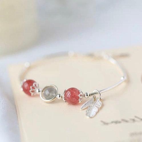 925純銀羽毛草莓晶手鏈