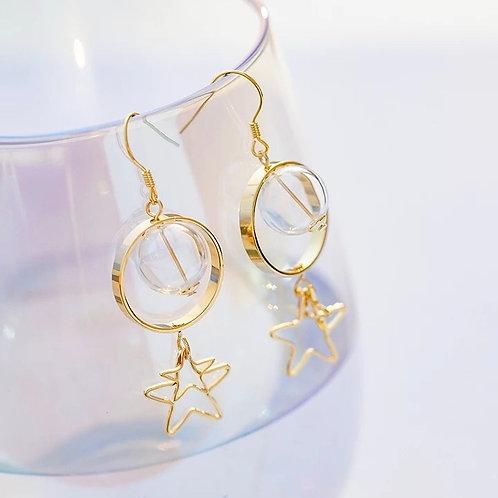 玻璃球星星耳環(925銀針)