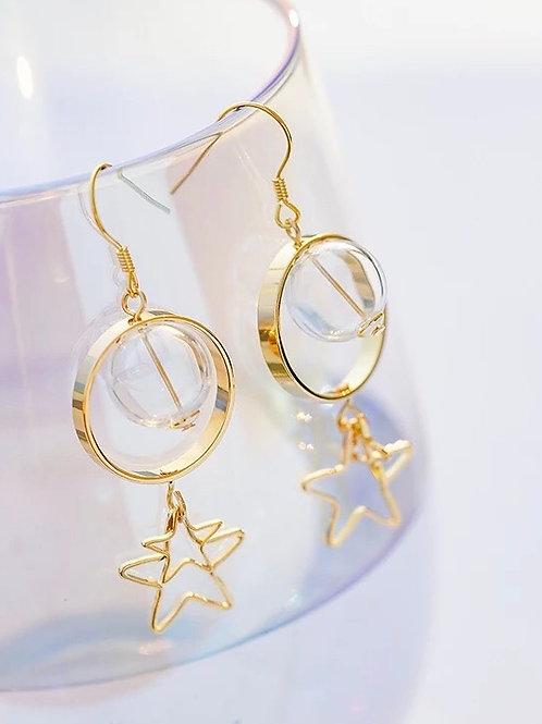 玻璃球星星耳環