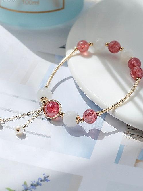 CR102 「愛情/情商之石」草莓晶白色月光石手鏈