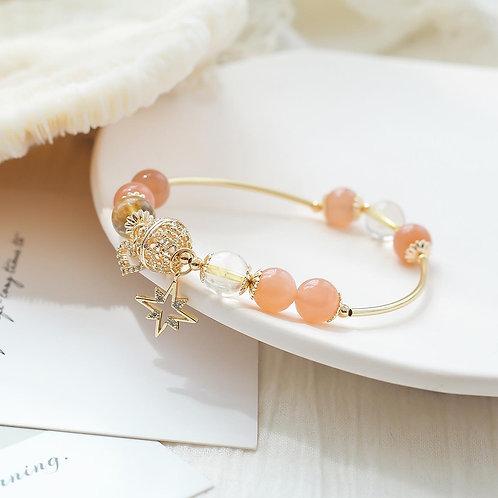 CR096 「旺財之石」金髮晶橙色月光石手鍊