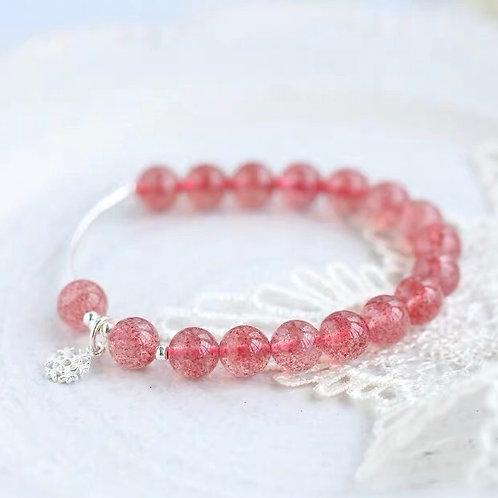 925純銀雪花草莓晶手鏈