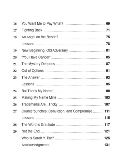 Table of Contents Con't