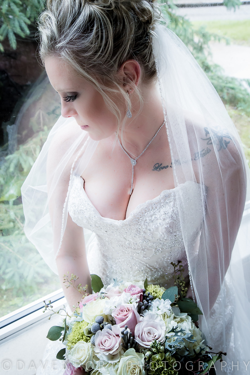 Bridal Portrait Indoors Rainy Day Wedding