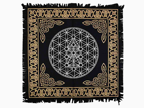 Flower Life Black White & Gold Altar Cloth, Table Cloth, Wall Art Hanging