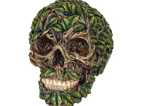 Green Foliage Covered Decorative Skull