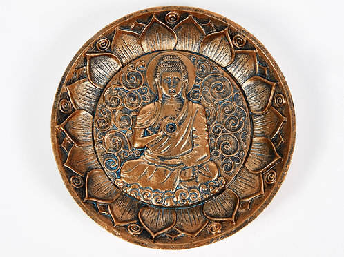 Sitting Buddha Copper Incense Holder Plate, with 20 Free Incense Sticks