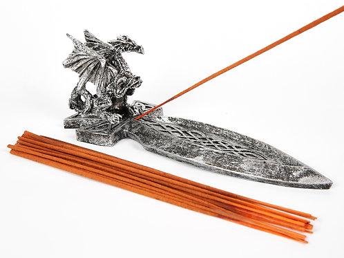 Large Dragon Sword Incense Holder, Ash Catcher + 20 Free Incense Sticks