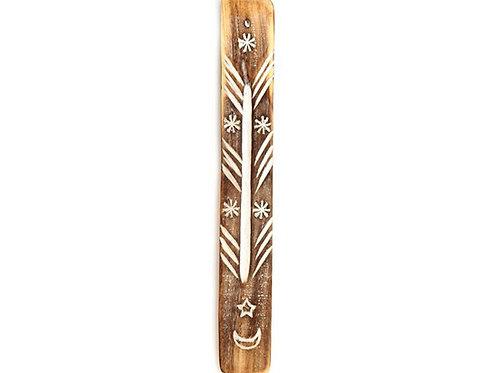 Moon & Stars Symbol Mango Wood Incense Holder + 20 Free Incense Sticks