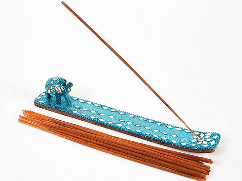 Light Blue Sparkly Baby Elephant Glitter Ash Catcher With 20 Free Incense Sticks
