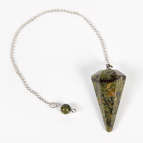 Dragon Blood Jasper Dowsing Pendulum, Natural Gemstone Point