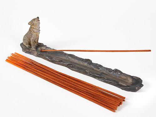 Howling Wolf Incense Holder, Incense Burner Ash Catcher + 20 Free Incense Sticks