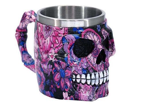 Pink & Purple Flowers Skull Face Tankard Mug