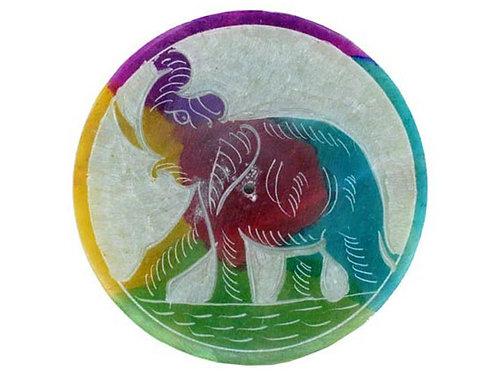 Mini Elephant Soapstone Incense Holder Plate, With 20 Free Incense Sticks