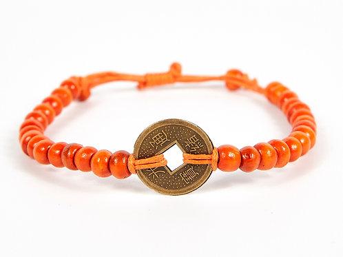 Orange Good Luck Feng Shui Coin Bracelet