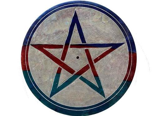 Pentagram Soapstone Incense Holder Plate, Ash Catcher + 20 Free Inc