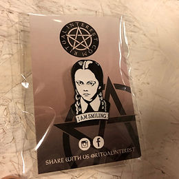 3 For 2 - Wednesday Addams I Am Smiling Enamel Pin - Black & Silver Plated Pin