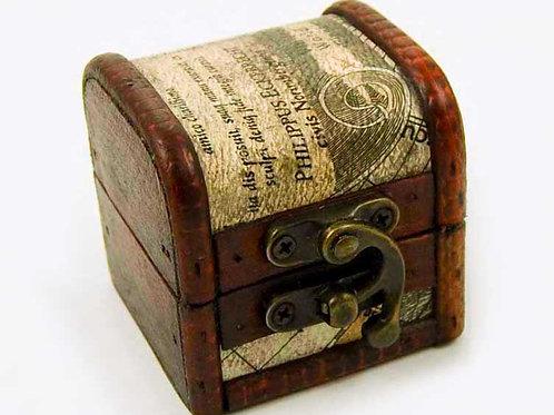Small Wooden Old Map Print Trinket Box, Jewellery Box