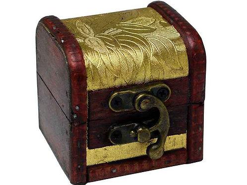 Small Wooden Gold Floral Print Trinket Box, Jewellery Box