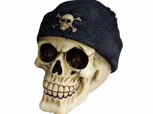 Decorative Skull Wearing Beanie Hat