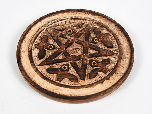 Hand Carved Pentagram 5 Hole Round Incense Stick & Cone Holder With 20 Free Inc