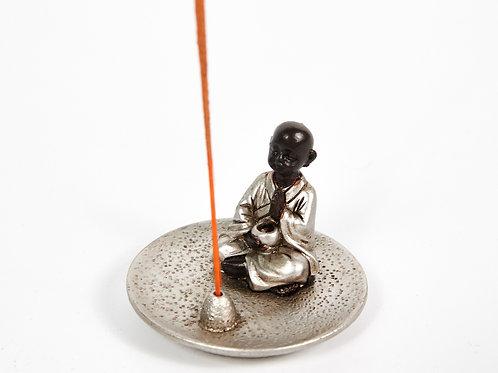 Monk Incense Holder Plate, Incense Burner, Ash Catcher + 20 Free Incense Sticks