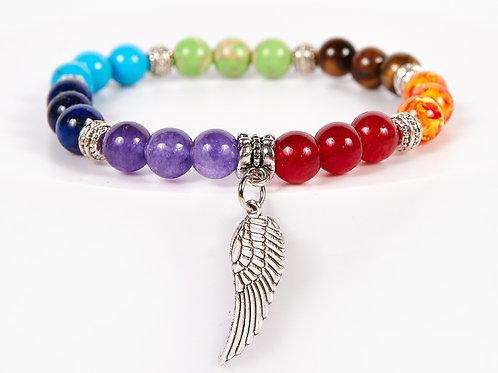 Wing Decorative Seven Chakras Bracelet