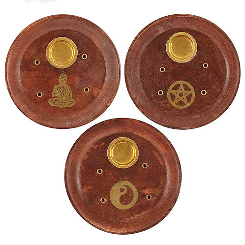 Round Wood Incense Ash Catcher 4 Hole Disc With 20 Free Incense Sticks
