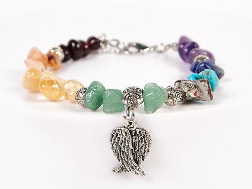 Double Wings Decorative Seven Chakras Bracelet