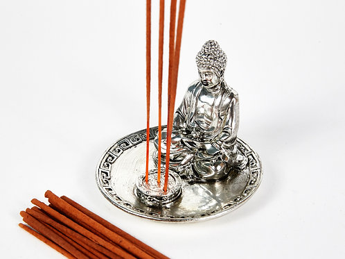 Silver Sitting Buddha 4 Hole Incense Holder Plate With 20 Free Incense Sticks