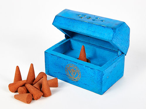Turquoise Throat Chakra Incense Box, Incense Holder, 12 Free Incense