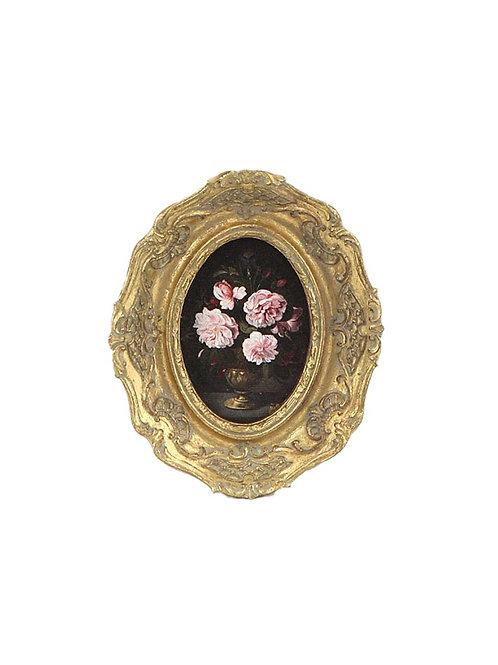 Petit cadre fleurs oval