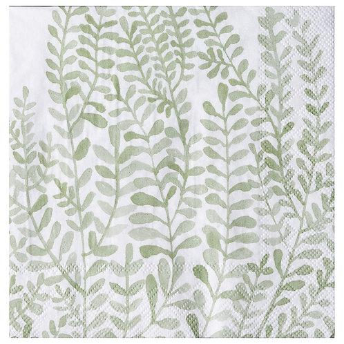 Serviette en papier feuilles vertes