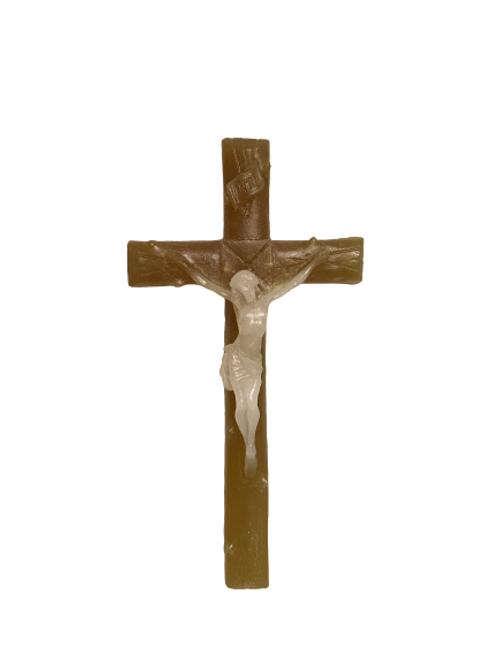 Crucifix lin & beige