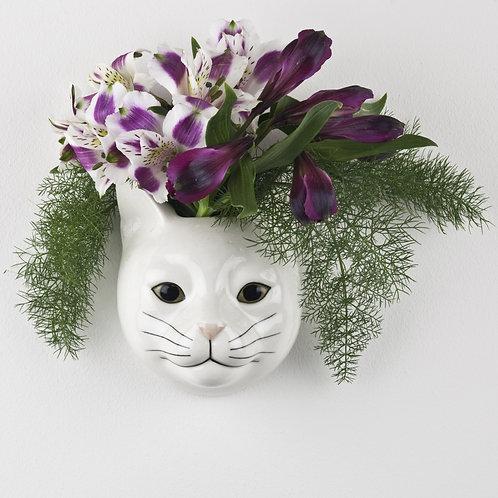Vase mural chat blanc