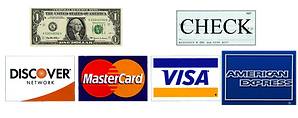 We accept all major credit cards, cash, or check