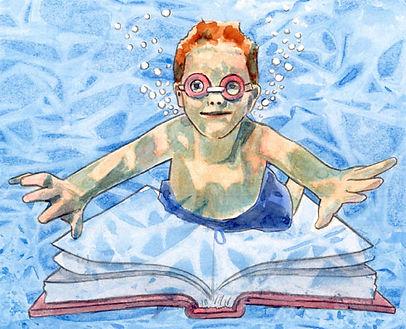 A cartoon of a boy under water reading a book.