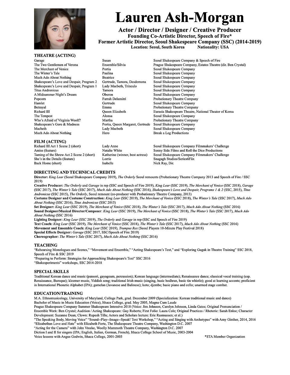 Lauren Ash-Morgan Resume (May 5, 2020) (