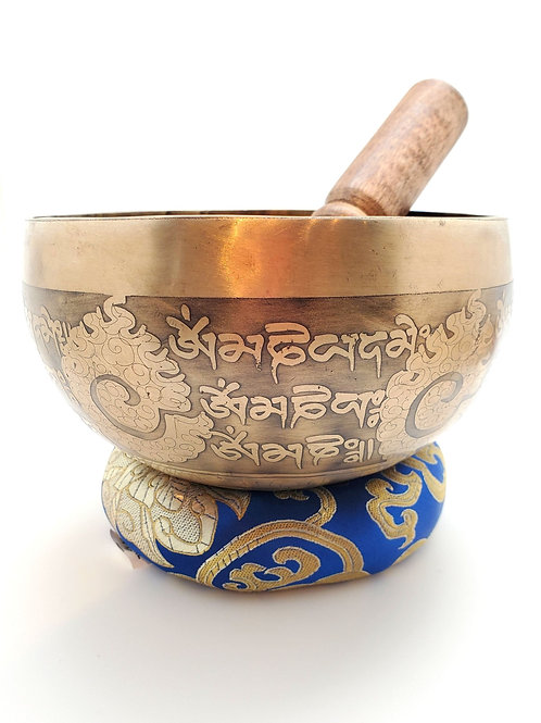 "6"" Engraved Brass Singing Bowl"
