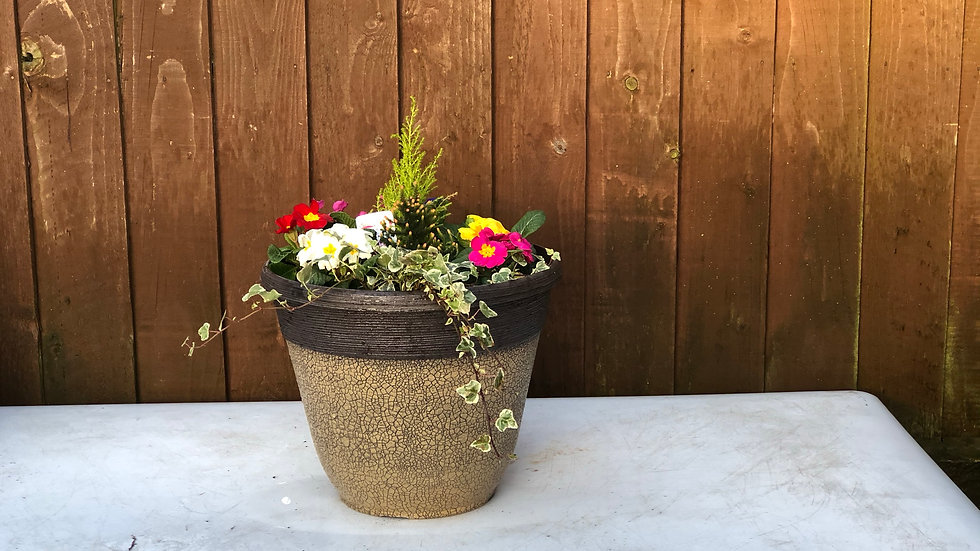 Planted Tub -36cm - Brown