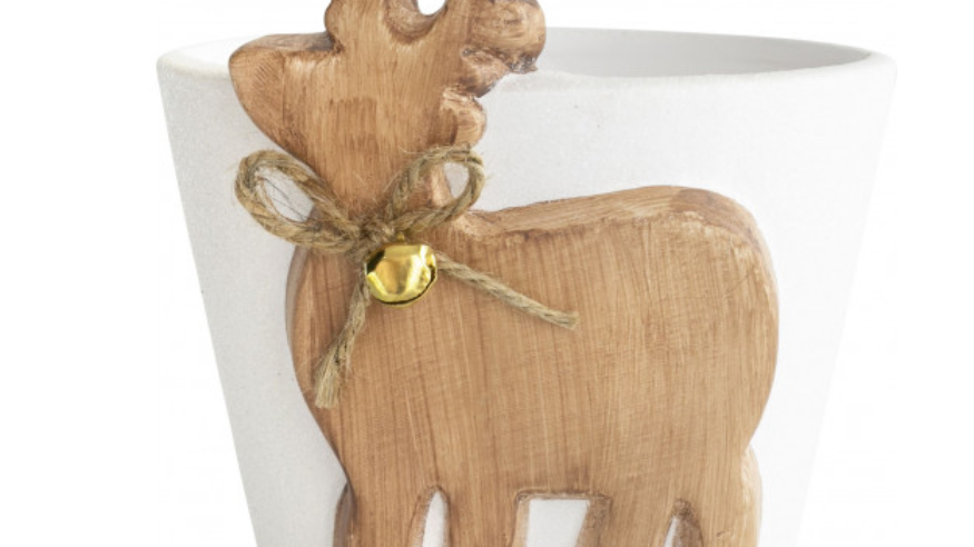 Reindeer Ceramic Planter With Bell