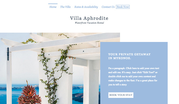 Accommodation website templates – Tropical Villa Rental