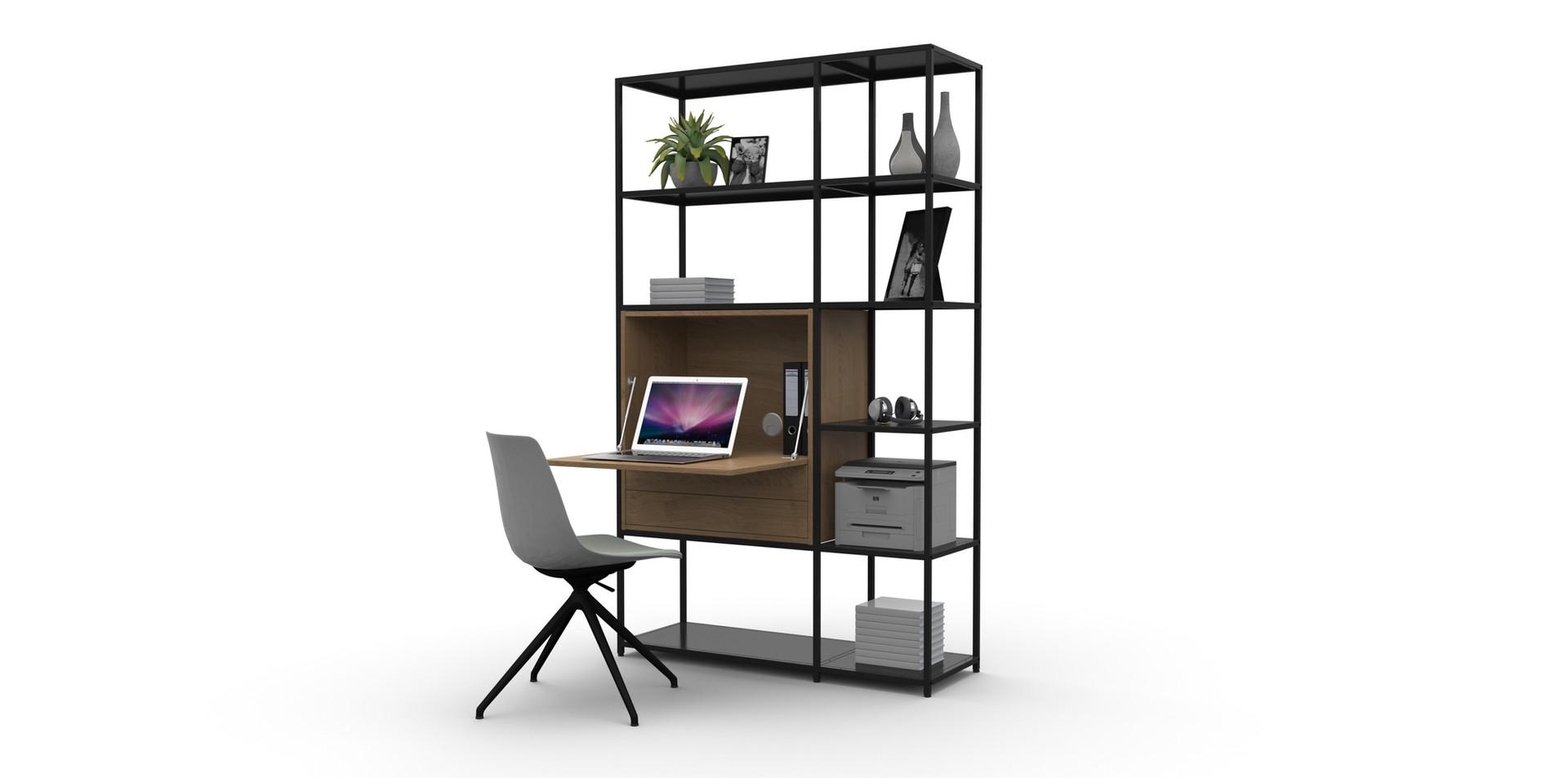 820 x 2055h Shelf Unit with Desk Insert_