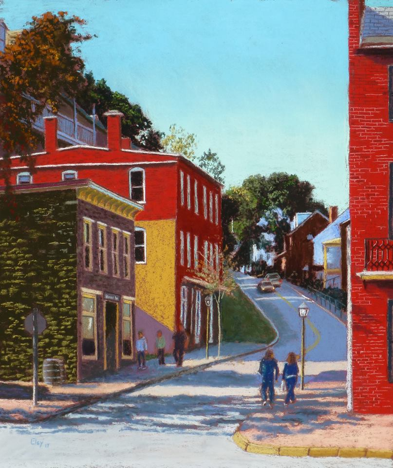 Curtis Eley - Afternoon Stroll, Harpers Ferry (pastel)