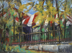 Barbara Reich - Tents Behind the Cider Mill