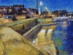 Desmond O'Hagan - Pont Neuf at Night, Paris