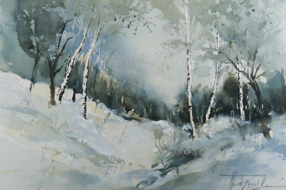 Christa Friedl - Birch Trees in the Wintertime (watercolor)