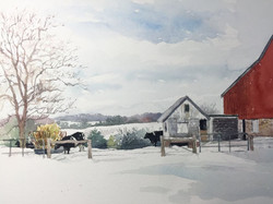 Jane Ramsey - Winter Pasture, Bucks County, PA (plein air watercolor)